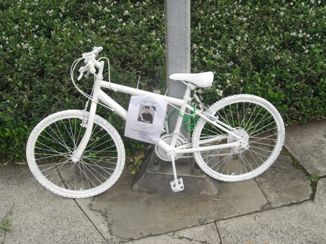 White Ghost bike with information attached